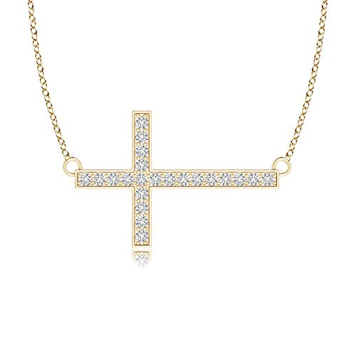 Holiday Gift For Women - Classic Diamond Sideways Cross Necklace in 9K Yellow Gold (1mm Diamond)