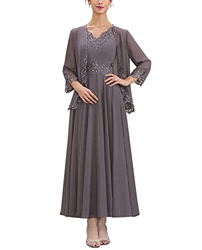 Aline Chiffon Mother of The Bride Dresses Plus Size V Neck Formal Gowns for Women Wisteria Size 22