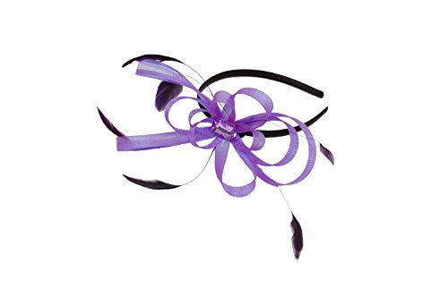 Narrow black satin aliceband with looped ribbon and feather fascinator in Purple