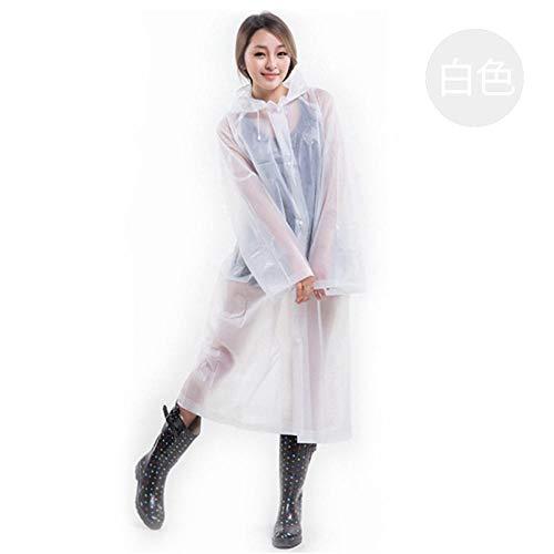 Wegwerp regenponcho waterdicht,Niet-wegwerp regenjas uit één stuk, EVA-milieubescherming poncho-white_10,Portable Adult Translucent Hooded Rain