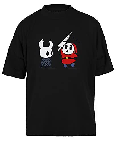 Hollow Shy Guy Negra Camiseta Holgada Unisex Tamaño S Black Baggy tee Tshirt Unisex Size S