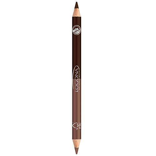 LOGONA Naturkosmetik Double Eyeliner Pencil No. 01 Coffee, Taupe&Dunkelbraun, Zweifacher Eyelinerstift, aufeinander abgestimmte Farbauswahl, Natural Make-up, pflegt, Vegan, 1.38 g