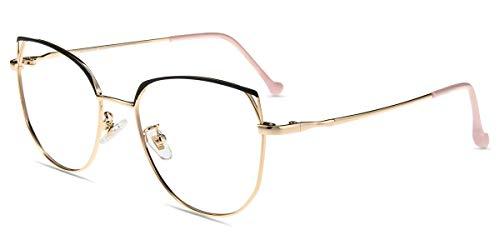 Firmoo Occhiali Occhio di Gatto Luce Blu Bloccanti per il Mal di Testa il Blocco della Cefalea UV, Occhiali Computer Donna (Nero Oro)