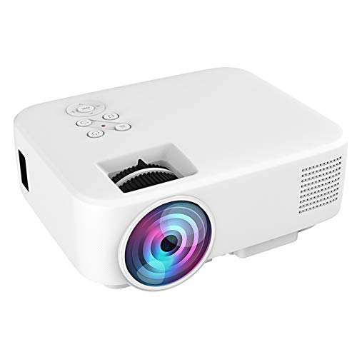 Gaeirt Mini proyector, Proyector de Video portátil, Proyector LED 1080P Home Theater, Proyector Pico de película, Mini proyector de Video con Puertos HDMI/AV/USB/Tarjeta de Memoria(Blanco)