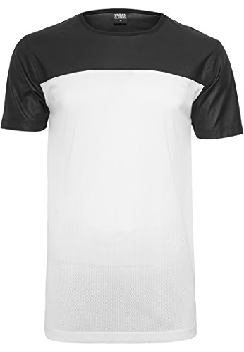 Urban Classics Football Mesh Long Jersey T-Shirt, Multicolore (WHT/blk 00224), Large Homme