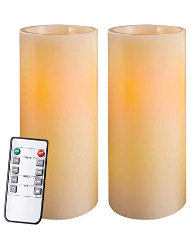 Homemory 9'7'5' Flameless Candles Battery Operated, Flickering Amber Yellow Light LED Pillar Candles with Timers and Remote Controls, Unscented Wax, for Gift and Decoration, Indoor Only, Set of 6