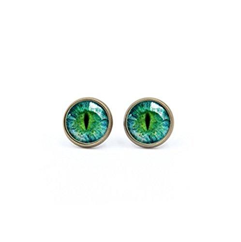 Pendientes de ojo de gato verde – joyería de ojos – accesorios para mujer regalo