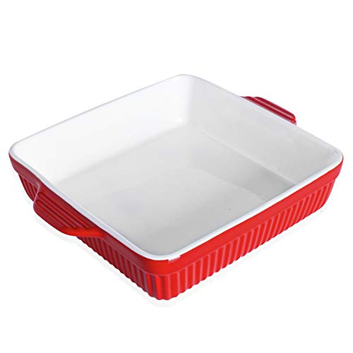 Ceramic Bakeware, Square Casserole Dish with Double Handle, 8 x 8 Inches,