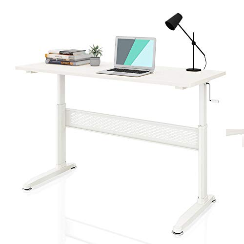 DEVAISE Adjustable Height Standing Desk 55 Inch with Crank Handle, White