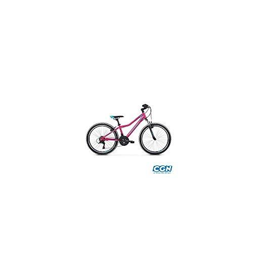 Motodak kinderfiets 24 inch MTB meisjes Kross Lea Jr 1.0 wit/roze tz50 6 versnellingen geveerd