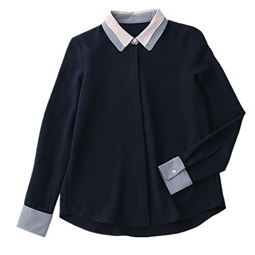NOBRAND Camisa de manga larga de gasa para mujer, casual, parte inferior Negro Negro ( XL