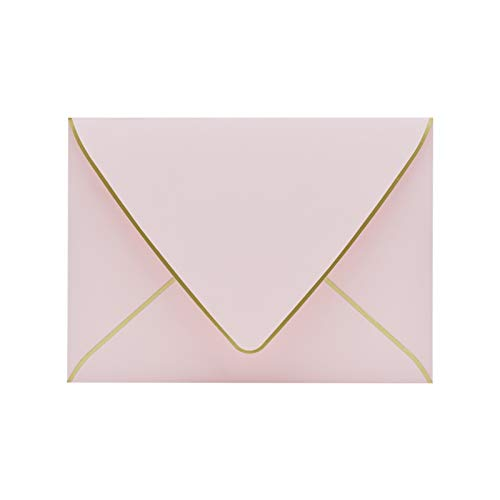 A7 Pink Envelopes 5 x 7 - V flap , Quick Self Seal , With Gold Border, For 5x7 Cards| Perfect for Weddings, Invitations, Photos, Graduation, Baby Shower|Thick Luxury Paper (Pink-golden border)