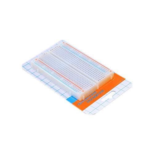KANJJ-YU 400 puntos de lazo Mini placa de pan sin soldadura PCB Breadboard de prueba universal BLANCO con embalaje de cartón