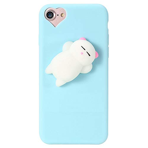 can't be satisfied Cat Case for iPhone 5s 5 SE 7 7 Plus 6 6s Plus Squishy Case Cute Silicon Cartoon Cat Cases for iPhone X 7 6 6s 5S Cover,Cat 2 Blue,for iPhone 7