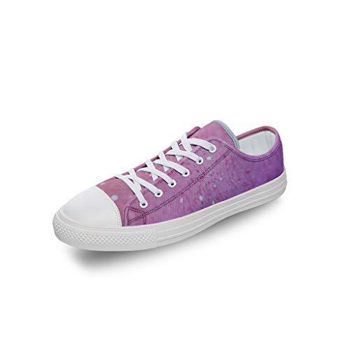 RNGIAN Zapatillas de deporte para mujer, de lona, color rosa, de corte bajo, divertidas, elegantes, para entrenamiento de tenis en el gimnasio para adultos, color Blanco, talla 33 EU