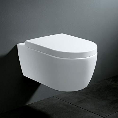 Soho Hänge Wand WC ohne Unterspülrand Toilette Brillant Weiss mit Duroplast WC-Sitz und Nano Beschichtung - 5