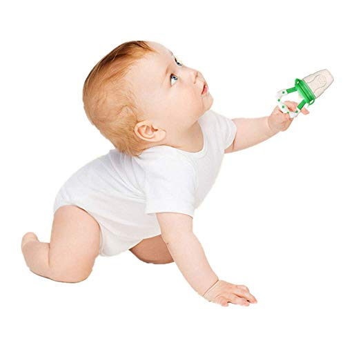 Baby Fruchtsauger Schnuller,Carolui Frischkost Obst und Gemüse Feeder Baby Beißring Zahnen Schnuller (Grün, 33 x 44mm)