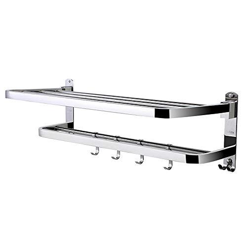 xingxing Storage & Organization - Toallero de 2 niveles, barra de almacenamiento de acero inoxidable, montaje en pared para baño