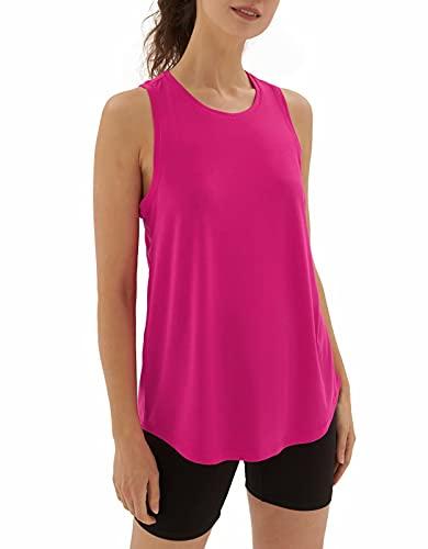 sissycos Camiseta sin mangas para mujer, con espalda cruzada, cuello redondo, para fitness, yoga, casual., Pitaya Rosa, L