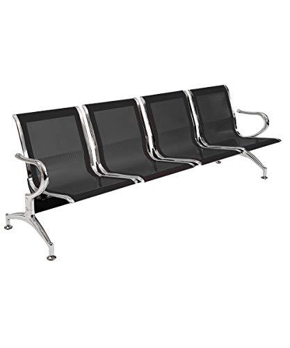Panca per sala d'attesa COLORE NERO, sedute ufficio, panche in acciaio per studio professionale e sala d'aspetto (4_posti)