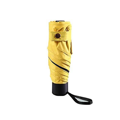 Axb Mini paraguas compacto, viajes a prueba de viento 5 Sol plegable y lluvia Protección contra UV Mujeres o niños perfectos para un automóvil,Amarillo