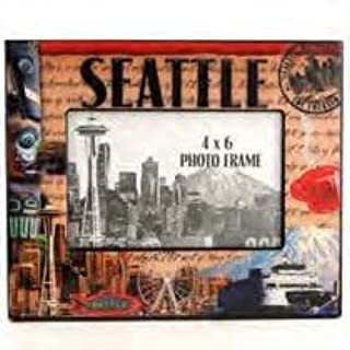 (28 7/18) SM Seattle Picture Frame Stamp Theme Epoxy Finish Incredible Colors Images 4x 6 image area Approx 9 x7 Frame With Exclusive Seattle Copyrighted Magnet