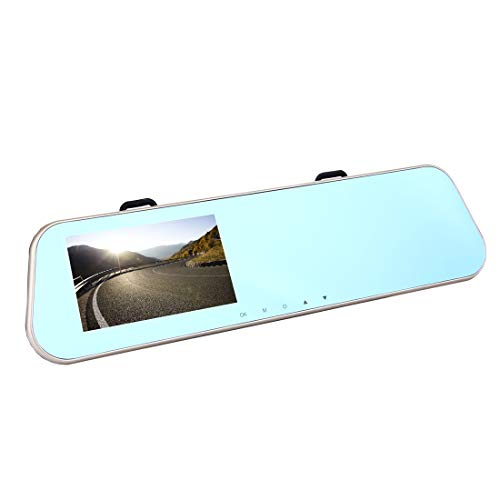 Luoshan Pantalla de visualización Izquierda retrovisor del vehículo DVR Espejo, Programas de Allwinner, 2 x Cámaras 1080P HD 140 Grados de ángulo de visión Amplio, Soporte Puerto GPS/detección de mo