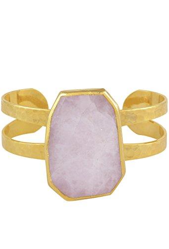 Charlene K Damen Armreif mit Rosenquarz vergoldet Unikat Statement Armschmuck verstellbar Handgefertigt Armspange