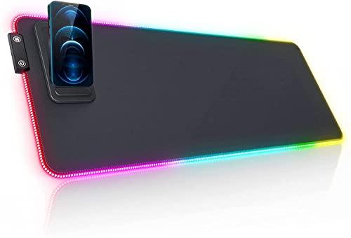 Seenda - Alfombrilla de ratón para juegos RGB, tamaño XXL 800 x 300 x 4 mm, con soporte para teléfono móvil, 14 modos LED, base de goma antivaho, almohadilla para PC escritorio o gamer
