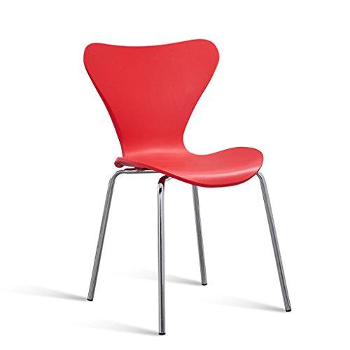 PLL Kunststoff Stühle Esszimmer Mode Kreative Schmetterling Stuhl Home Rückenlehne Hocker Stahlrohr Stuhl Beine Orange Weiß Rot (Color : Red)