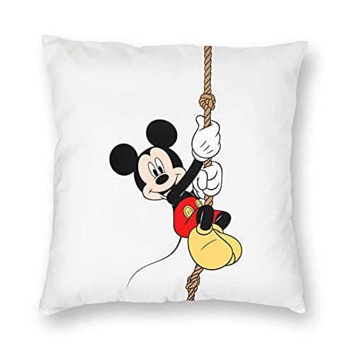 Nicegift Funda de almohada de lino y algodón Mickey Mouse Minnie