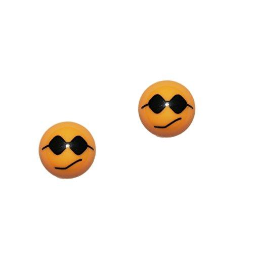 2er Set Ventilkappen - Smiley mit Sonnenbrille - in gelb für Motorrad