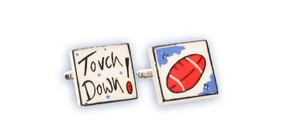 Bone China Cufflinks - Touch Down by by Sonia Spencer