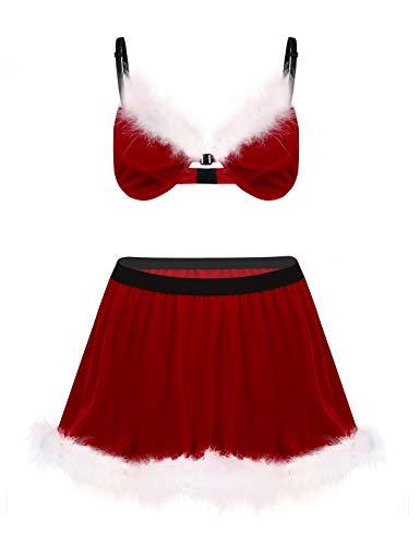 Freebily Herren Sissy Dessous Set Christmas Santa Kostüm Samt BH Bralette Mini Rock mit Feder Lingerie Set Weihnachten Geschenke Erotik Unterwäsche Rot X-Large