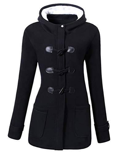 Nlife Women Classic Horns Buttons Sweater Coat Solid Color Zip Up Front Pockets Hooded Duffel Outwear Black