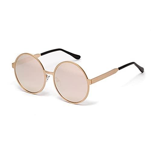 JINZUN Gafas de Sol de Tiro Callejero Gafas de Sol Retro Redondas de Metal con Marco Grande Gafas de protección UV para Exteriores