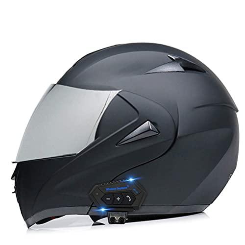 FFYN Casco Modular abatible, Sistema Integrado Bluetooth Cara Completa con visores Dobles Cascos de Motocross Altavoz Incorporado Micrófono para Auriculares con certificación Dot/ECE