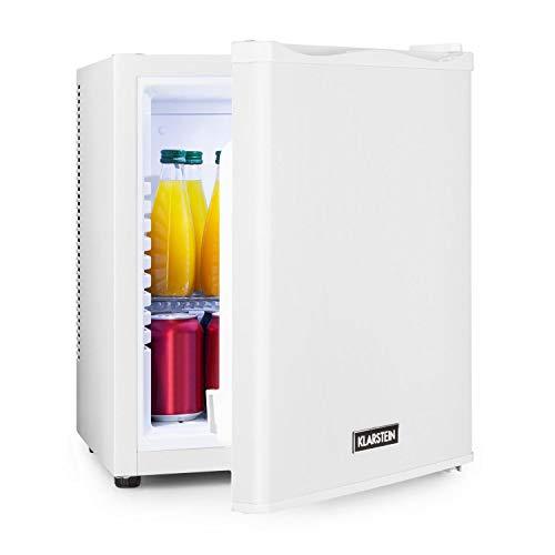 Klarstein Happy Hour - Minibar, Mininevera, nevera para bebidas, nevera de compresor, temperatura de 5 a 15 °C, eficiencia energética G, silencioso: 0 dB, luz LED, 25 L de volumen, blanco
