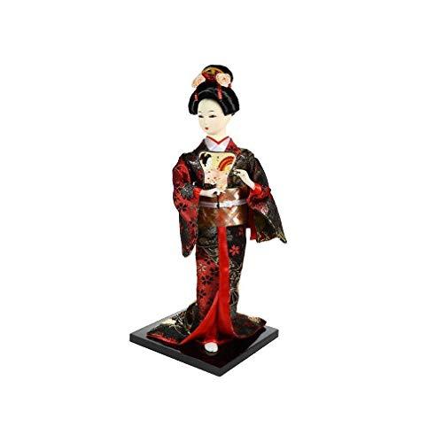 lachineuse Muñeca Tradicional decoración, Rojo y Negro, 32x12x10cm