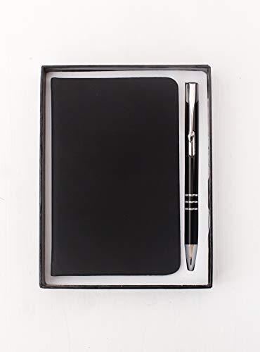 Projects Notizbuch 'Global' A5-Format - liniertes umweltfreundliches 80 g/m2 FSC-Papier 192 Seiten, Hardcover PU Softtouch-Bezug - Lesezeichen, Verschlussband, Kulli – vielseitig verwendbar (schwarz)