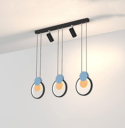 OURLOVEII Led Regulable Mesa Comedor Luz Pendiente 3 Circulo Moderna Lámpara Colgante, Altura Ajustable para Sala de Estar Lámpara Estudio Barra Comedor Decoración Diseño Lámpara de Suspensión,Negro