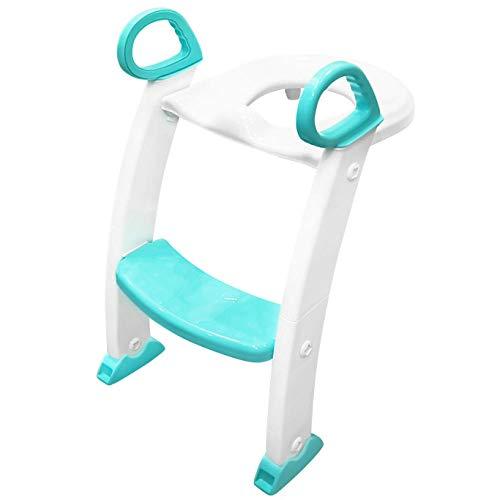 N \ A Weiß Toilet Children Höhenverstellbar WC Fußstütze mit Leiter,maximale Belastbarkeit bis 50kg,rutschfest Stabil Klappbar Toilet Trainer für Jungen Mädchen