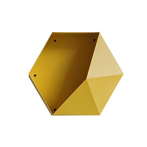 JPVGIA Estante Hexagonal Helado del Hierro labrado, Estante de Pared Creativo de la Sala de Estar - 40 * 34.5 * 20cm (Color : Yellow)