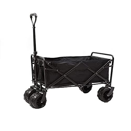 Z-SEAT Carro de jardín Plegable, 360 & deg;Ruedas, Capacidad hasta 120 kg, Pasamanos Ajustables, Carro de Transporte para Playa, Jardín, Pesca, Camping, Exterior