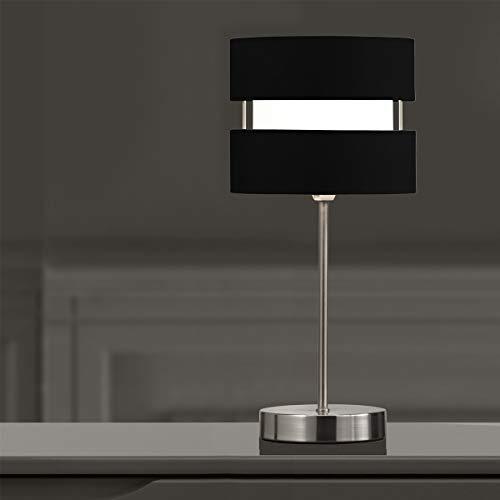 CGC - Lámpara de mesa con 2 niveles de níquel satinado y cromo y níquel (2 capas, para mesa), color negro, rojo, amarillo y gris
