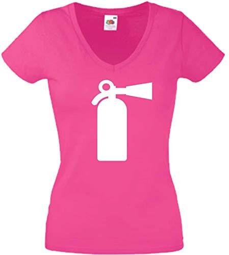 JINTORA T-Shirt - Shirt Frau Pink - V-Ausschnitt - Größe XXL - Feürlöscher - Fisch - JDM/Die Cut - für Party Fasching Karneval Arbeit Sport