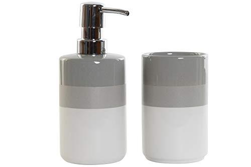Space Home - Accesorio de Baño - Dosificador de Jabón + Porta Cepillo - Blanco y Gris - Diseño Líneas