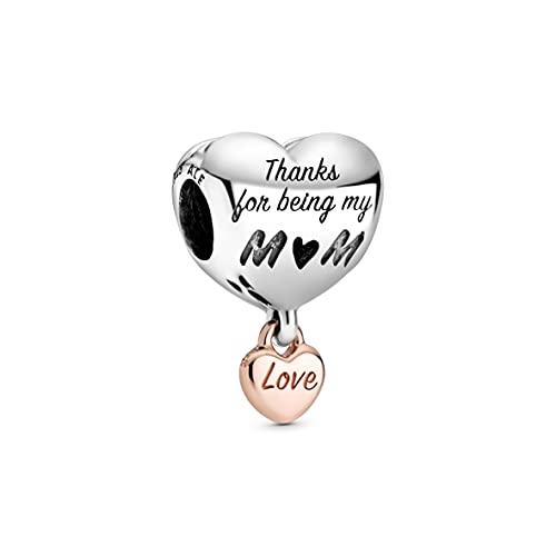 Pandora Charm bicolore Love You Mum con cuore in lega di metallo placcato oro rosa 14 carati e argento Sterling dalla collezione Pandora Moments