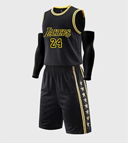 Nealpar Lakers Kobe Jersey NBA Championship Retro Jersey Lakers No. 24 Mesh Swingman Basketball Jersey,Black,L