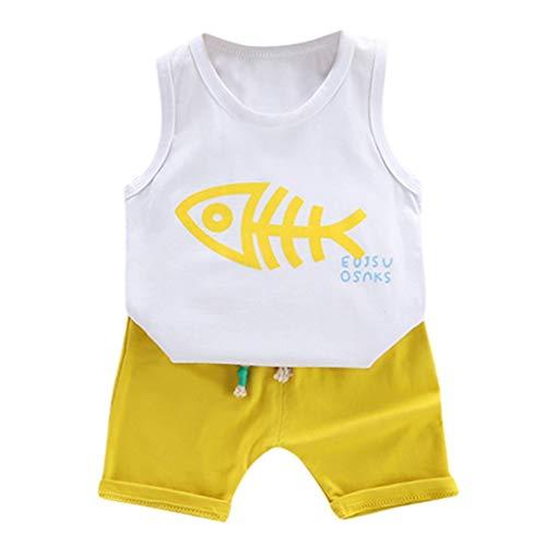 wuayi Bébés Garçons Bande Dessinée Poisson T-Shirt Débardeur Hauts Shorts Pantalons Tenues Pantalons Vêtements 6 Mois - 5 Ans